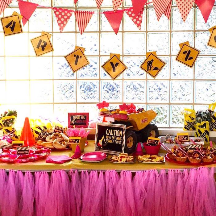 Construction themed dessert table from a Girly Construction Themed Birthday Party on Kara's Party Ideas | KarasPartyIdeas.com (16)