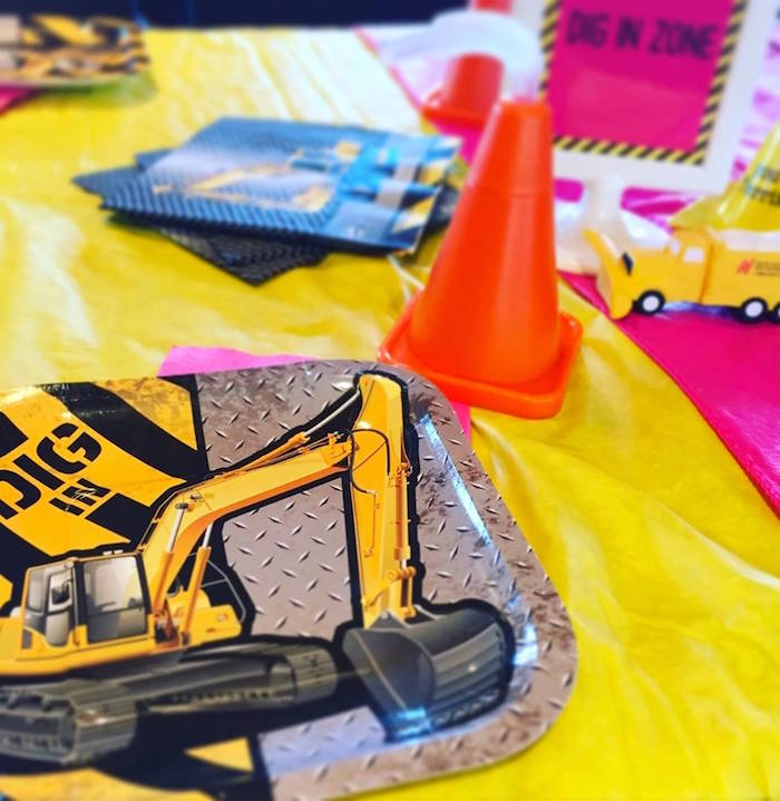 Excavator plates from a Girly Construction Themed Birthday Party on Kara's Party Ideas | KarasPartyIdeas.com (14)
