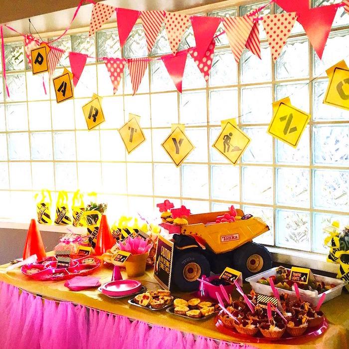 Kara S Party Ideas Girly Construction Themed Birthday