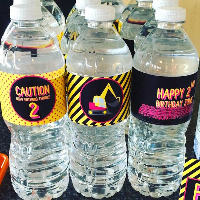 Construction water bottles from a Girly Construction Themed Birthday Party on Kara's Party Ideas | KarasPartyIdeas.com (12)