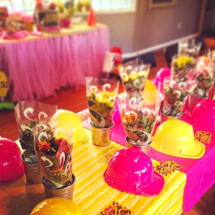 Party table from a Girly Construction Themed Birthday Party on Kara's Party Ideas | KarasPartyIdeas.com (10)