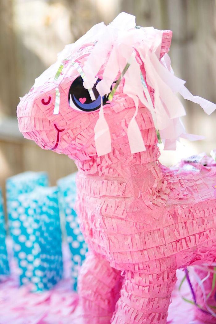 My Little Pony piñata from a Glam Floral My Little Pony Birthday Party on Kara's Party Ideas | KarasPartyIdeas.com (18)