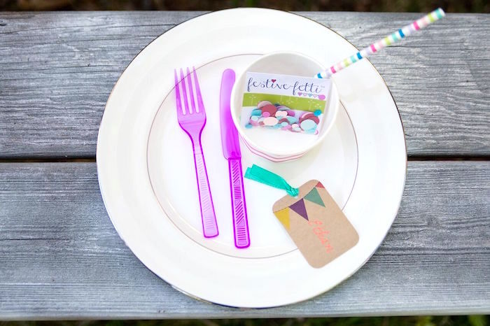 Place setting from a Glam Floral My Little Pony Birthday Party on Kara's Party Ideas | KarasPartyIdeas.com (12)