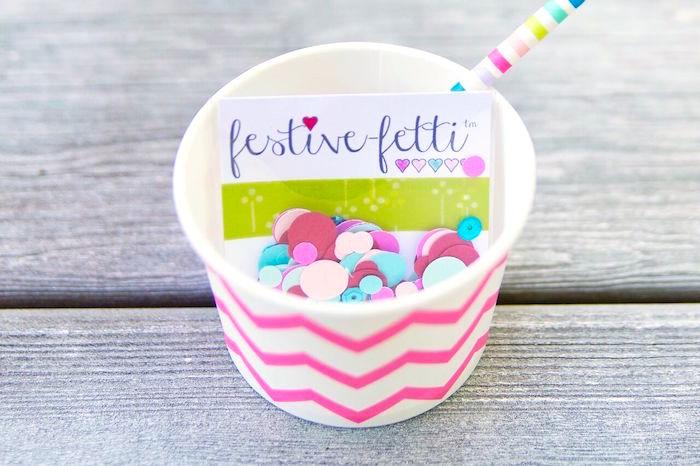 Festive-fetti cup from a Glam Floral My Little Pony Birthday Party on Kara's Party Ideas | KarasPartyIdeas.com (11)