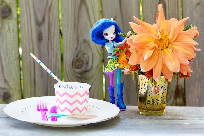 Place setting from a Glam Floral My Little Pony Birthday Party on Kara's Party Ideas | KarasPartyIdeas.com (10)