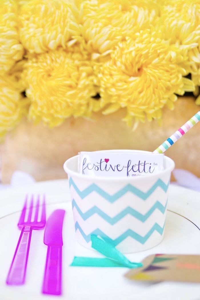 Festive-fetti place setting from a Glam Floral My Little Pony Birthday Party on Kara's Party Ideas | KarasPartyIdeas.com (9)