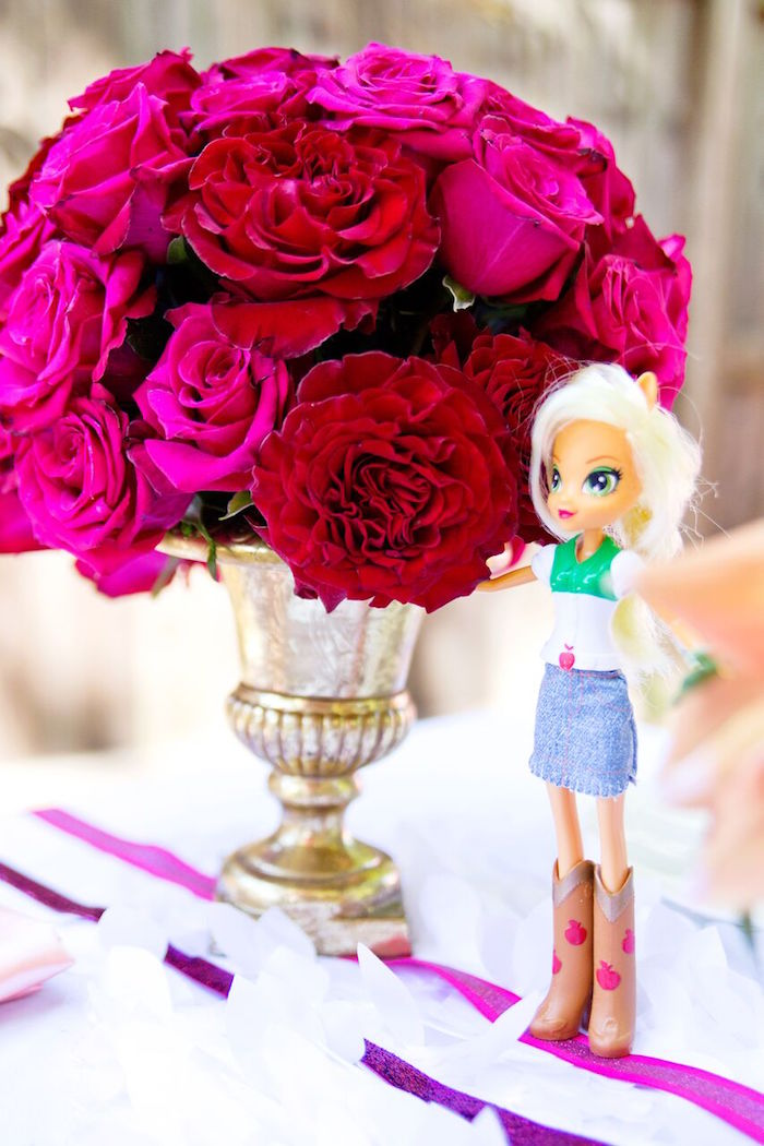 Rose centerpiece and My Little Pony Doll from a Glam Floral My Little Pony Birthday Party on Kara's Party Ideas | KarasPartyIdeas.com (7)