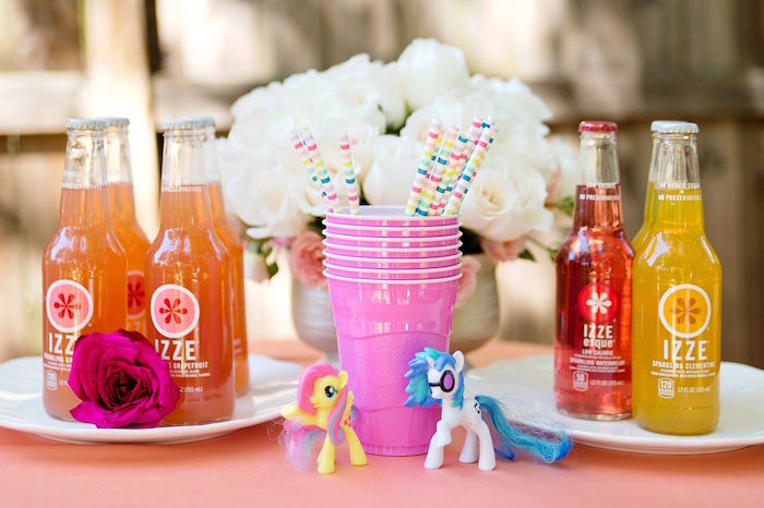 Beverage station from a Glam Floral My Little Pony Birthday Party on Kara's Party Ideas | KarasPartyIdeas.com (24)