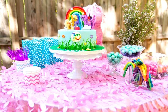 Cake table from a Glam Floral My Little Pony Birthday Party on Kara's Party Ideas | KarasPartyIdeas.com (22)