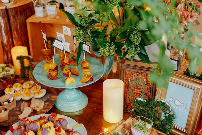 Food table from a Greenhouse Themed Japanese Reception Party on Kara's Party Ideas | KarasPartyIdeas.com (6)