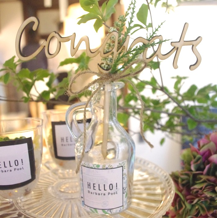 Congrats-bottle centerpiece from a Greenhouse Themed Japanese Reception Party on Kara's Party Ideas | KarasPartyIdeas.com (5)