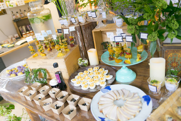 Food table from a Greenhouse Themed Japanese Reception Party on Kara's Party Ideas | KarasPartyIdeas.com (18)