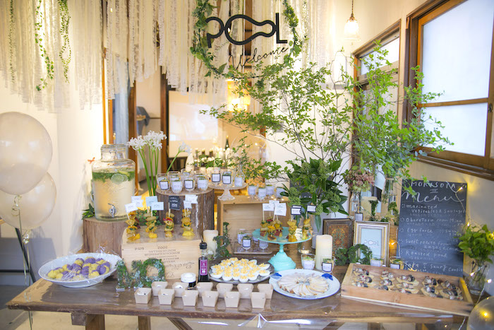 Food table from a Greenhouse Themed Japanese Reception Party on Kara's Party Ideas | KarasPartyIdeas.com (17)
