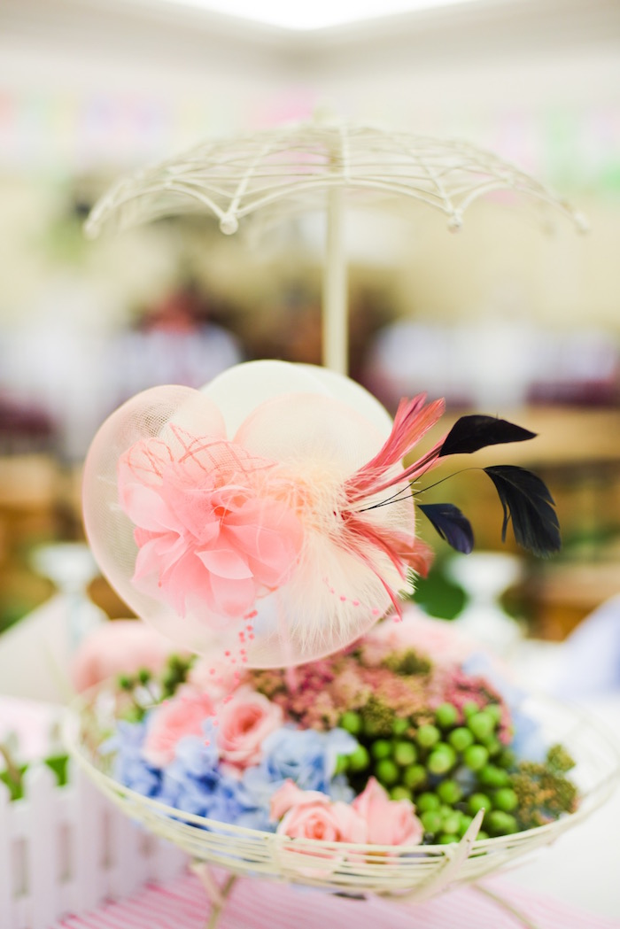 Derby hat centerpiece from a Horse Derby Birthday Party on Kara's Party Ideas | KarasPartyIdeas.com (30)