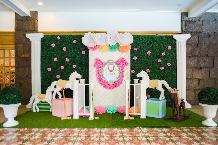 Derby-inspired backdrop from Horse Derby Birthday Party on Kara's Party Ideas | KarasPartyIdeas.com (5)