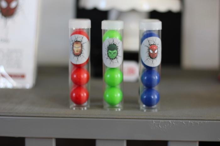Superhero gumball favor tubes from an Iron Man + Hulk & Spiderman Superhero Birthday Party on Kara's Party Ideas | KarasPartyIdeas.com (43)