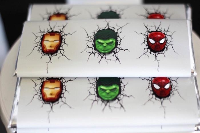 Superhero chocolate bars from an Iron Man + Hulk & Spiderman Superhero Birthday Party on Kara's Party Ideas | KarasPartyIdeas.com (42)