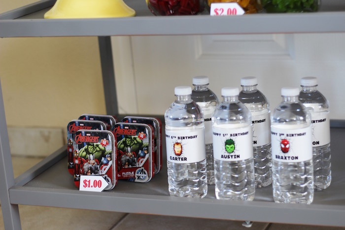 Water bottles and favors from an Iron Man + Hulk & Spiderman Superhero Birthday Party on Kara's Party Ideas | KarasPartyIdeas.com (40)