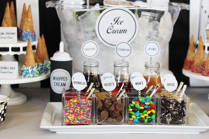 Ice cream toppings from an Iron Man + Hulk & Spiderman Superhero Birthday Party on Kara's Party Ideas | KarasPartyIdeas.com (36)