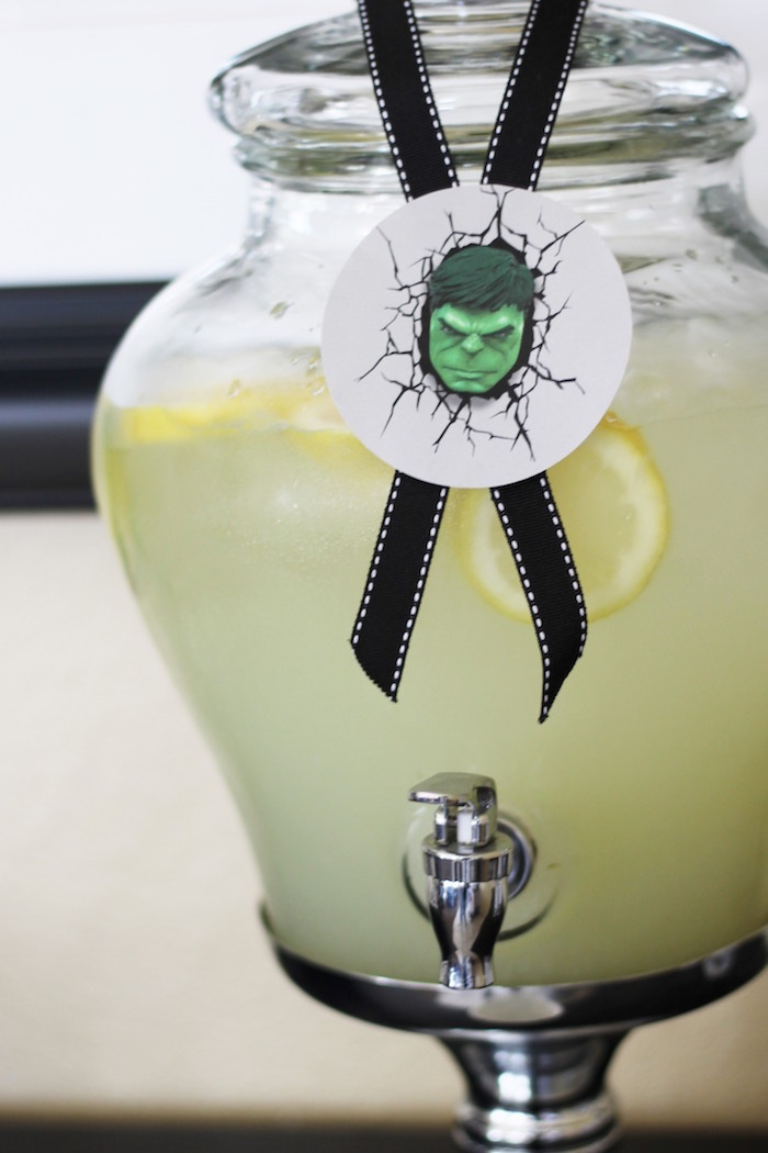 Hulk beverage dispenser from an Iron Man + Hulk & Spiderman Superhero Birthday Party on Kara's Party Ideas | KarasPartyIdeas.com (35)