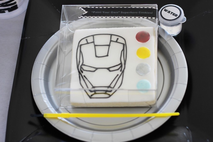 "Iron Man ""Paint your own cookie"" from an Iron Man + Hulk & Spiderman Superhero Birthday Party on Kara's Party Ideas 