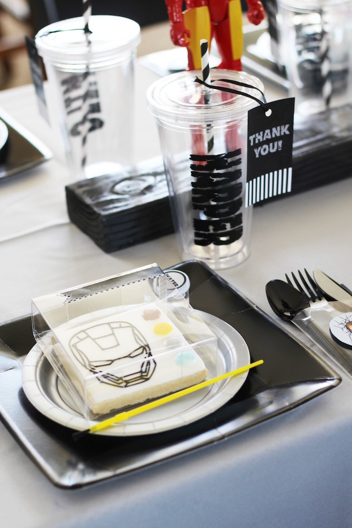 Place setting from an Iron Man + Hulk & Spiderman Superhero Birthday Party on Kara's Party Ideas | KarasPartyIdeas.com (33)