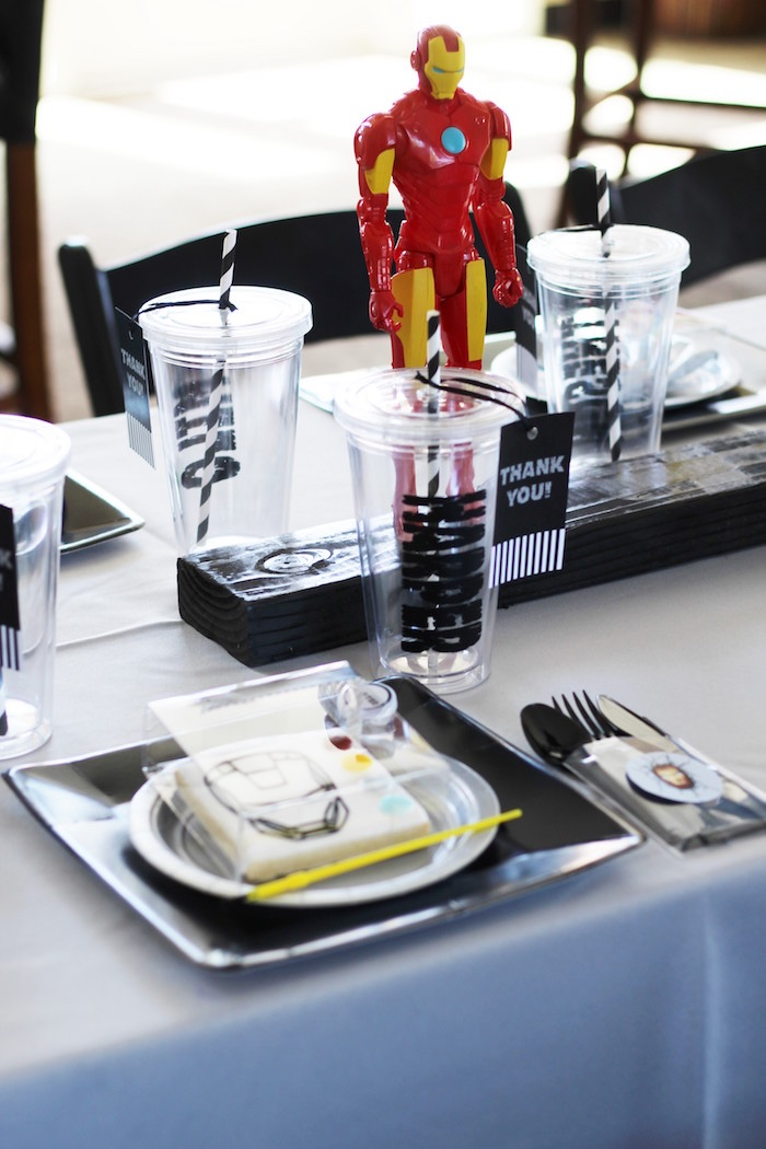 Place setting from an Iron Man + Hulk & Spiderman Superhero Birthday Party on Kara's Party Ideas | KarasPartyIdeas.com (32)