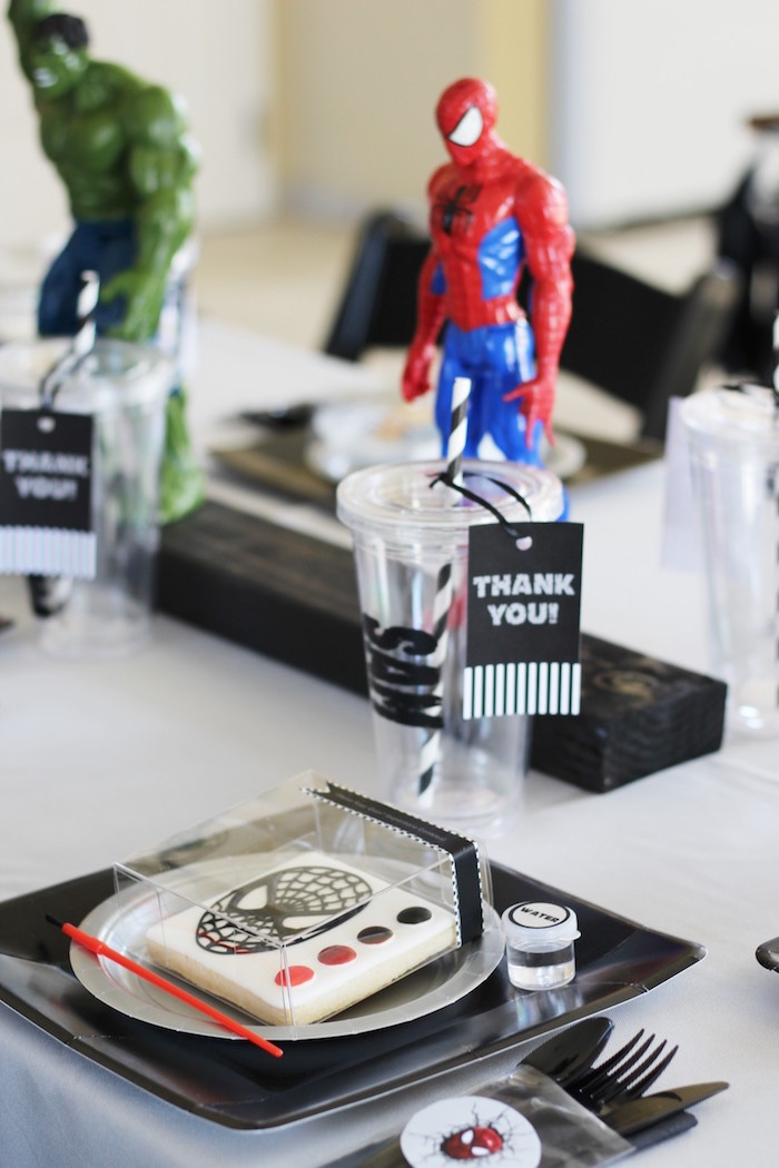 Spiderman place setting from an Iron Man + Hulk & Spiderman Superhero Birthday Party on Kara's Party Ideas | KarasPartyIdeas.com (31)