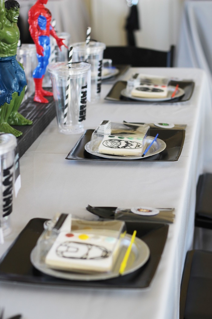 Place settings from an Iron Man + Hulk & Spiderman Superhero Birthday Party on Kara's Party Ideas | KarasPartyIdeas.com (30)