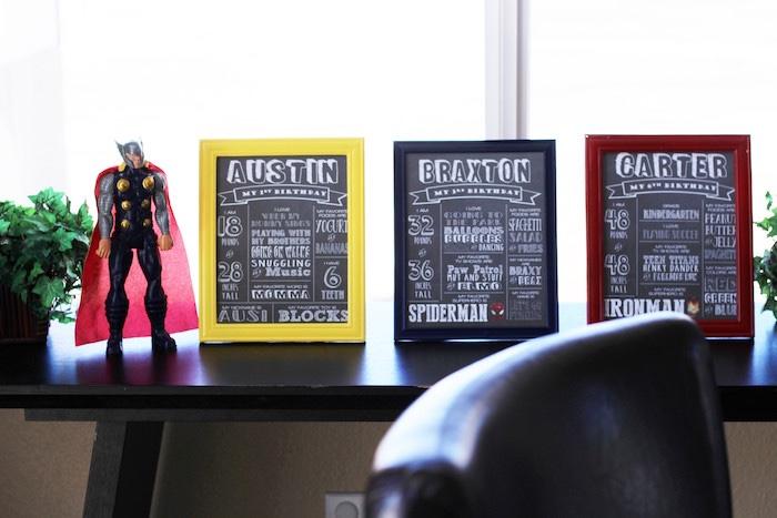 Superhero fact boards from an Iron Man + Hulk & Spiderman Superhero Birthday Party on Kara's Party Ideas | KarasPartyIdeas.com (29)
