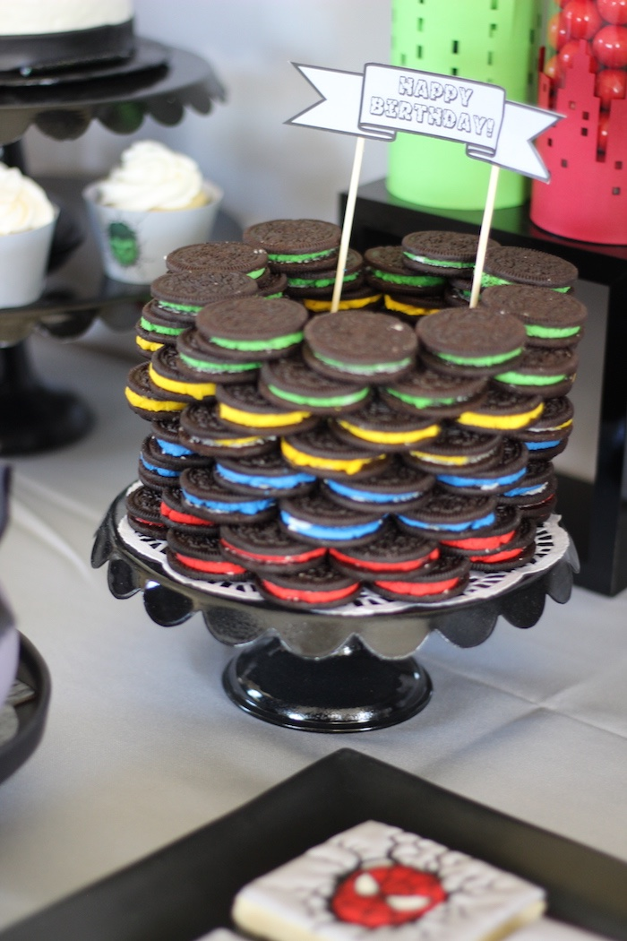 Stacked Oreo superhero cake from an Iron Man + Hulk & Spiderman Superhero Birthday Party on Kara's Party Ideas | KarasPartyIdeas.com (28)
