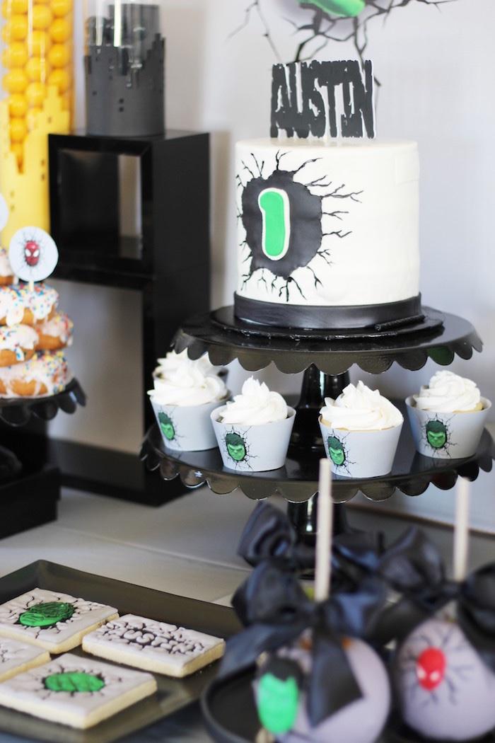 Hulk cake & cupcakes from an Iron Man + Hulk & Spiderman Superhero Birthday Party on Kara's Party Ideas | KarasPartyIdeas.com (27)