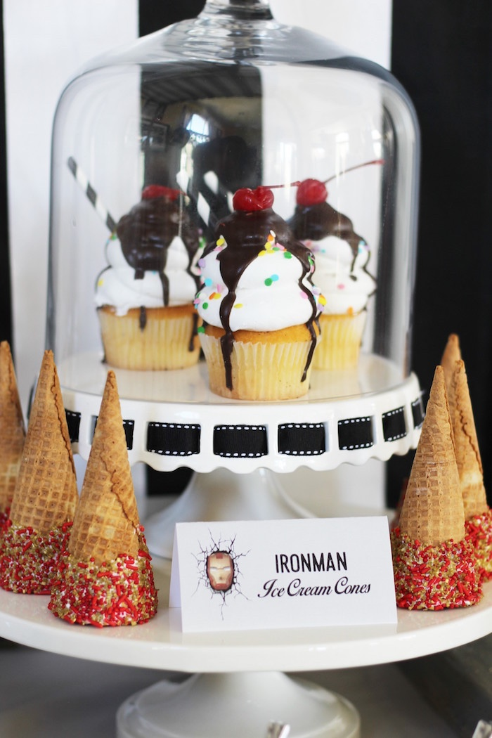 Iron Man ice cream cones & cupcakes from an Iron Man + Hulk & Spiderman Superhero Birthday Party on Kara's Party Ideas | KarasPartyIdeas.com (26)