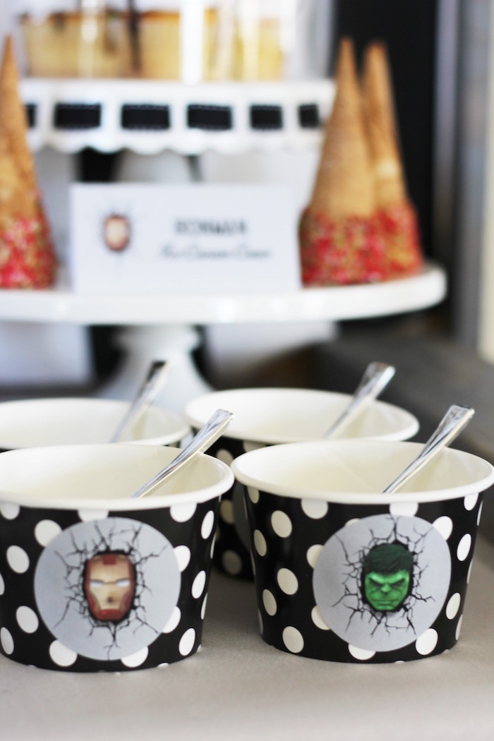 Superhero ice cream cups from an Iron Man + Hulk & Spiderman Superhero Birthday Party on Kara's Party Ideas | KarasPartyIdeas.com (25)