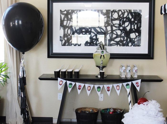 Beverage table from an Iron Man + Hulk & Spiderman Superhero Birthday Party on Kara's Party Ideas | KarasPartyIdeas.com (21)