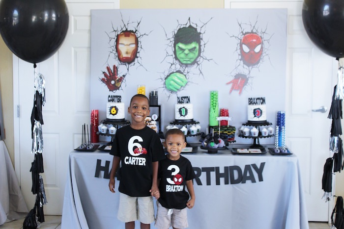 Superhero dessert table from an Iron Man + Hulk & Spiderman Superhero Birthday Party on Kara's Party Ideas | KarasPartyIdeas.com (20)