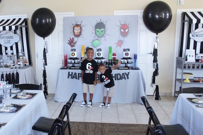 Dessert table from an Iron Man + Hulk & Spiderman Superhero Birthday Party on Kara's Party Ideas | KarasPartyIdeas.com (19)
