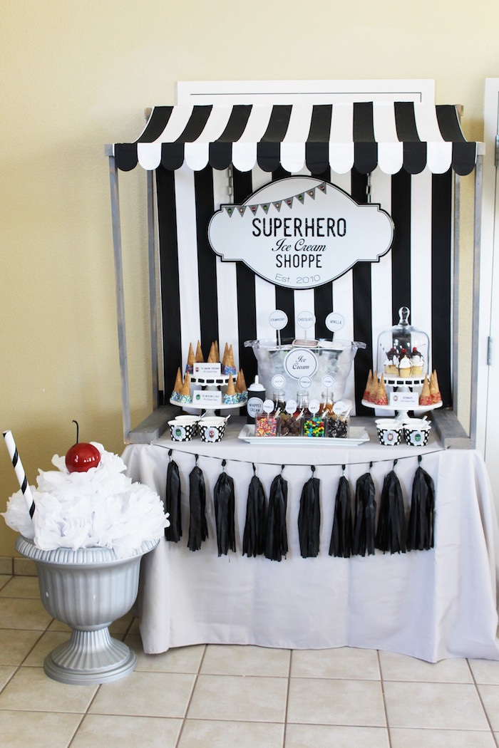 Superhero Ice Cream Bar from an Iron Man + Hulk & Spiderman Superhero Birthday Party on Kara's Party Ideas | KarasPartyIdeas.com (18)