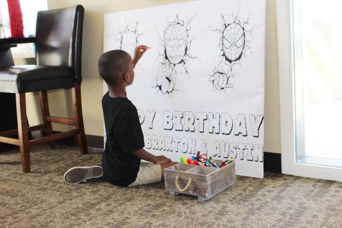 Superhero coloring board from an Iron Man + Hulk & Spiderman Superhero Birthday Party on Kara's Party Ideas | KarasPartyIdeas.com (17)