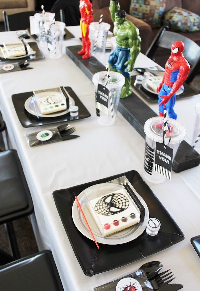 Guest table from an Iron Man + Hulk & Spiderman Superhero Birthday Party on Kara's Party Ideas | KarasPartyIdeas.com (16)
