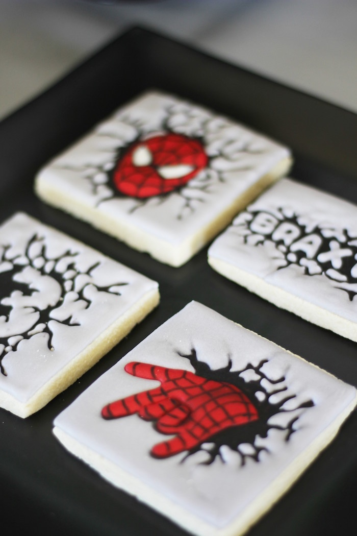 Spiderman cookies from an Iron Man + Hulk & Spiderman Superhero Birthday Party on Kara's Party Ideas | KarasPartyIdeas.com (50)