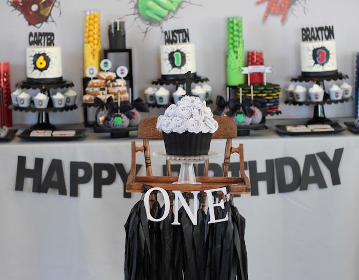 Cake & dessert table from an Iron Man + Hulk & Spiderman Superhero Birthday Party on Kara's Party Ideas | KarasPartyIdeas.com (13)