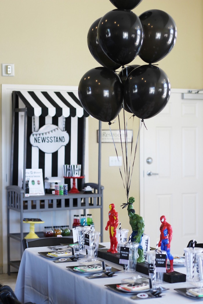 Guest table from an Iron Man + Hulk & Spiderman Superhero Birthday Party on Kara's Party Ideas | KarasPartyIdeas.com (12)