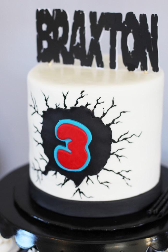 Spiderman-inspired cake from an Iron Man + Hulk & Spiderman Superhero Birthday Party on Kara's Party Ideas | KarasPartyIdeas.com (11)