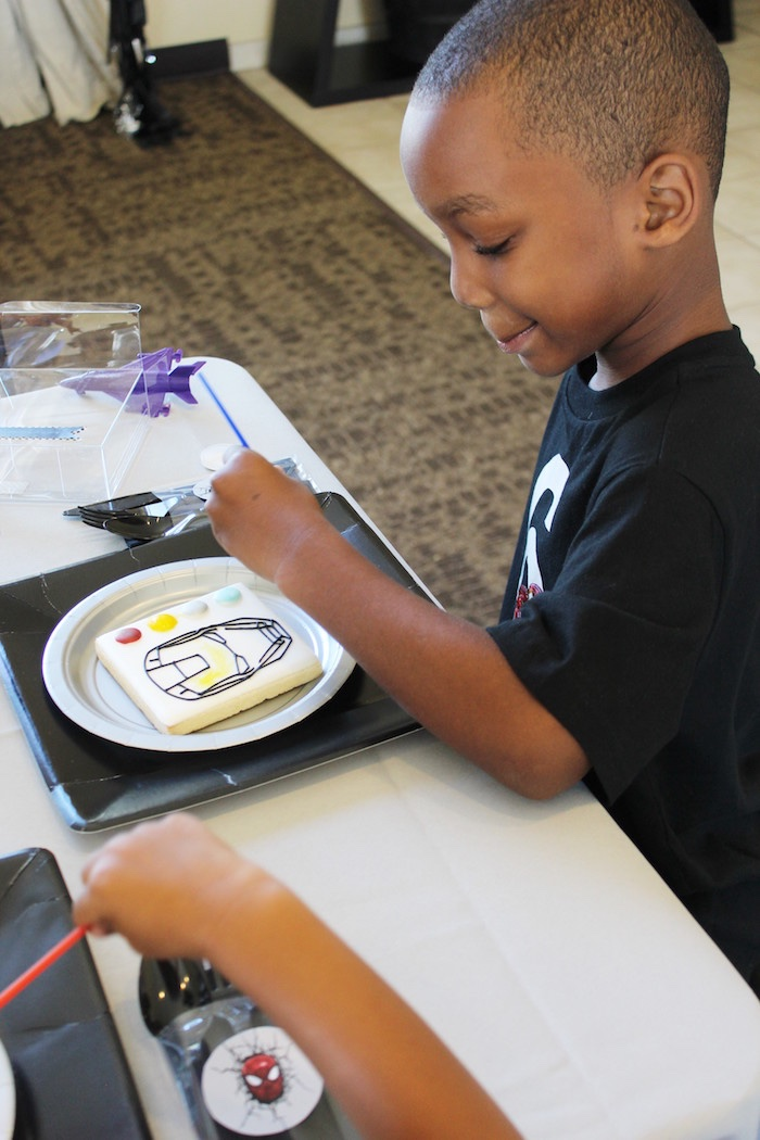 Cookie painting from an Iron Man + Hulk & Spiderman Superhero Birthday Party on Kara's Party Ideas | KarasPartyIdeas.com (8)
