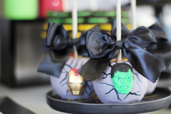 Gourmet superhero apples from an Iron Man + Hulk & Spiderman Superhero Birthday Party on Kara's Party Ideas | KarasPartyIdeas.com (48)