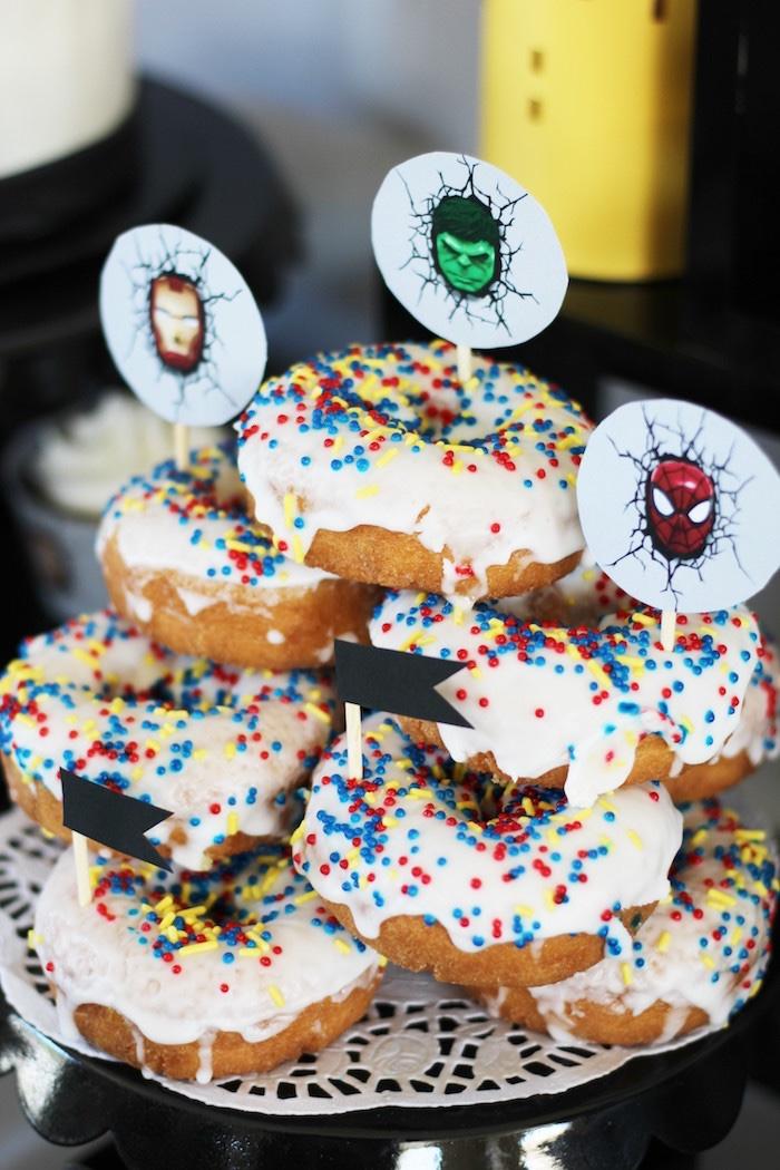 Superhero donuts from an Iron Man + Hulk & Spiderman Superhero Birthday Party on Kara's Party Ideas | KarasPartyIdeas.com (47)