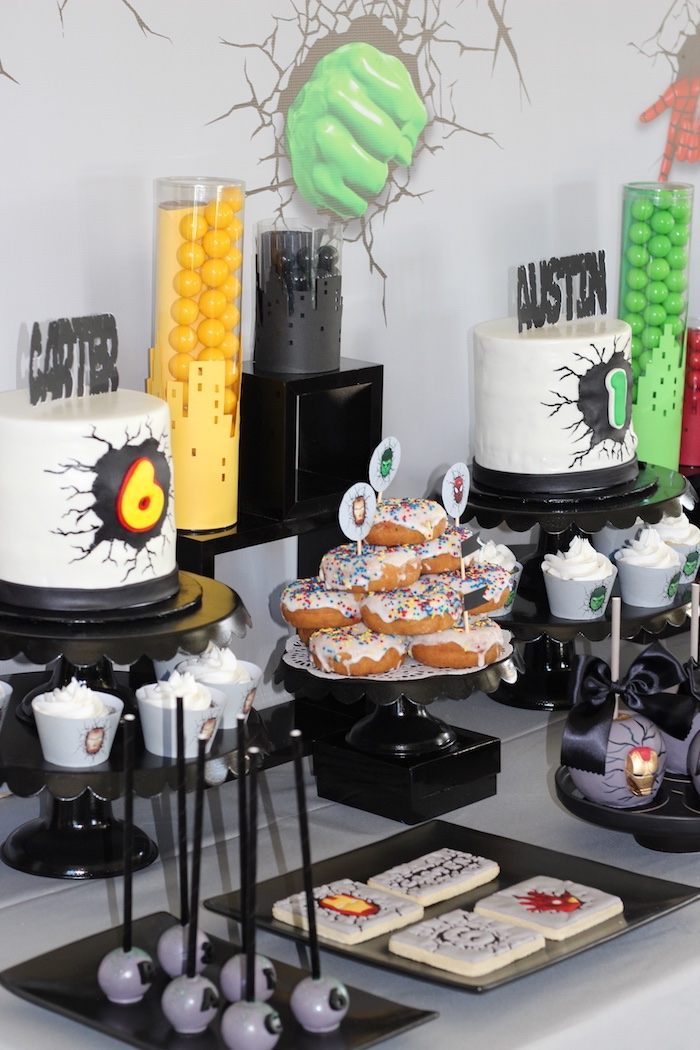 Iron Man + Hulk & Spiderman Superhero Birthday Party on Kara's Party Ideas | KarasPartyIdeas.com (45)