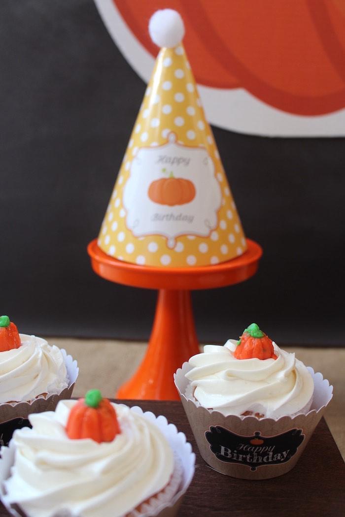 Pumpkin cupcakes & party hat from a Little Pumpkin Fall Birthday Party on Kara's Party Ideas | KarasPartyIdeas.com (10)