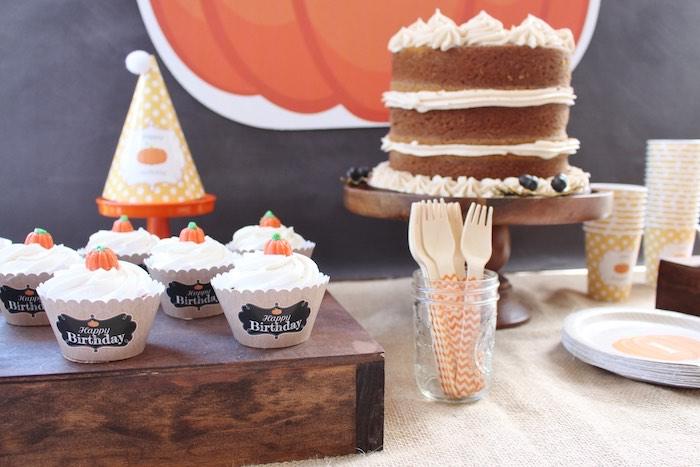 Cakescape from a Little Pumpkin Fall Birthday Party on Kara's Party Ideas | KarasPartyIdeas.com (9)